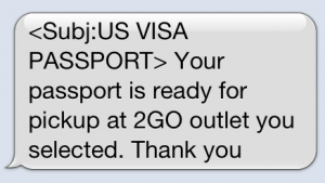 US Visa in the Philippines: Getting a Text Message from 2GO