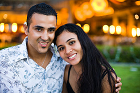 Portrait of a couple smiling, Papeete, Tahiti, French Polynesia